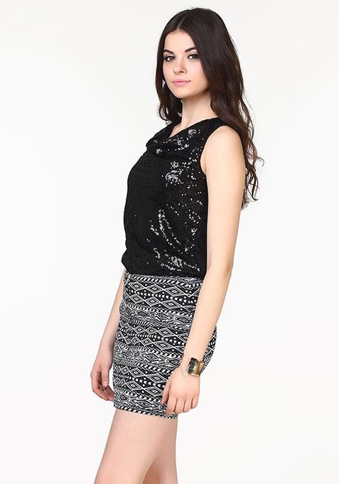 Get Zipped Mini Skirt - Aztec