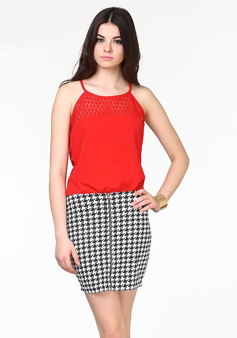 Get Zipped Mini Skirt - Houndstooth