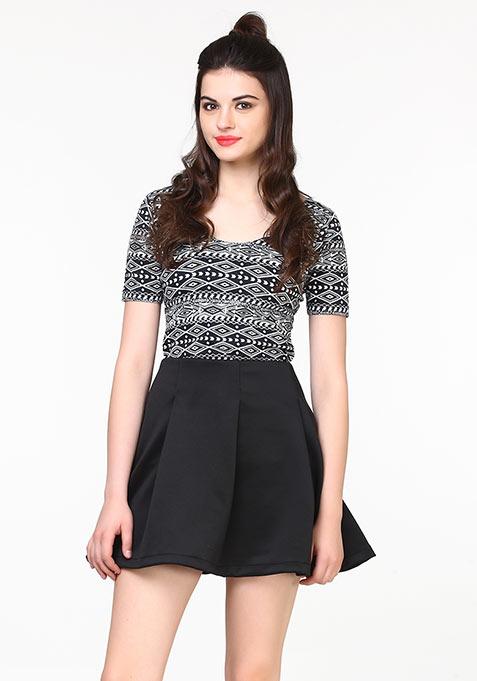 Peppy Scuba Skater Skirt - Black