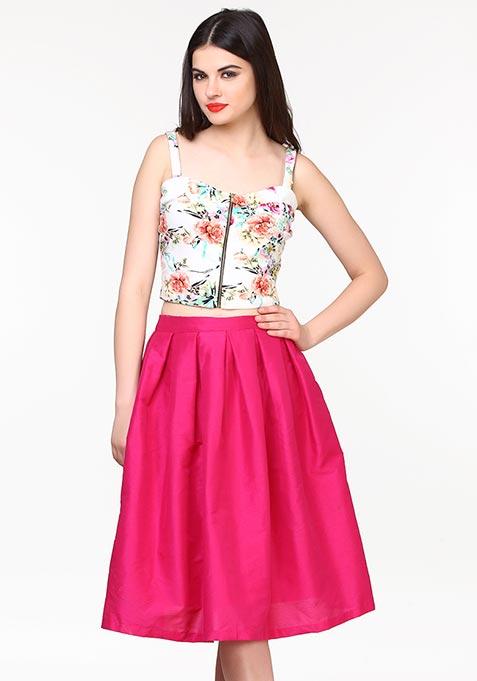 Glam Girl Silk Midi Skirt - Pink