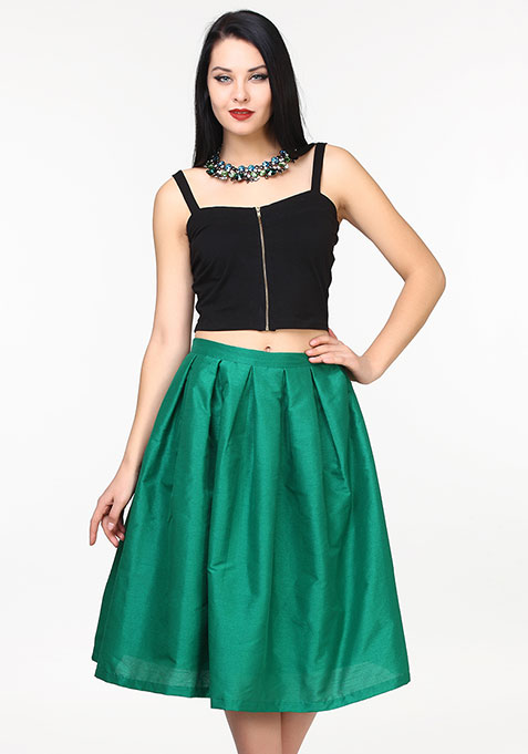 Glam Girl Silk Midi Skirt - Green