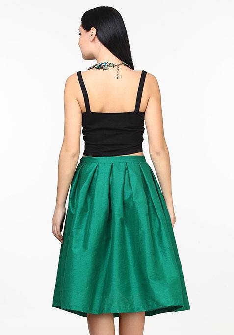 Glam Girl Silk Midi Skirt - Green