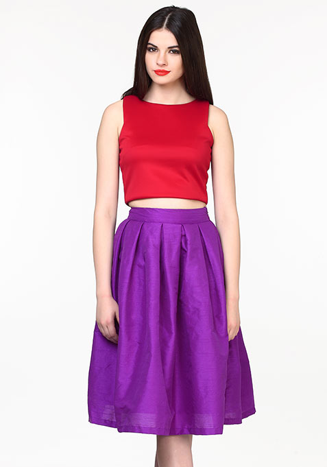 Glam Girl Silk Midi Skirt - Purple