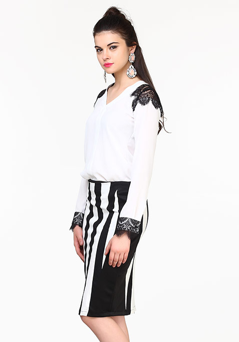 Side Kick Pencil Skirt - Stripes