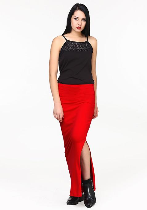 Side Sneak Maxi Skirt - Red