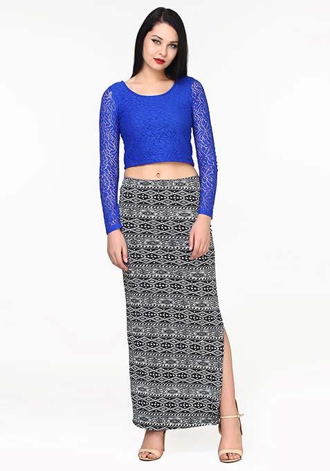 Side Sneak Maxi Skirt - Aztec