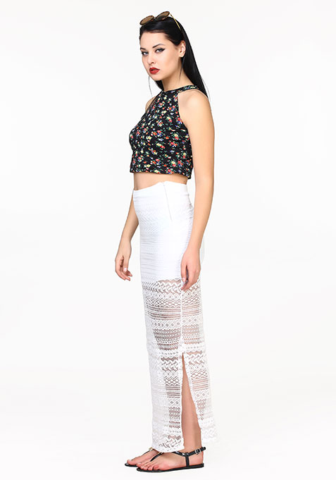 Lace Crush Maxi Skirt - White