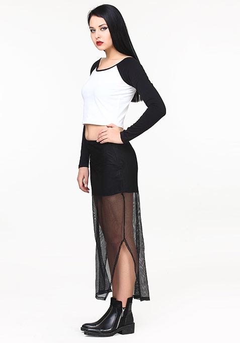 Mesh Pores Maxi Skirt