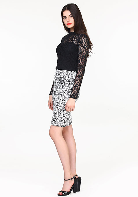 Floral Chic Pencil Skirt