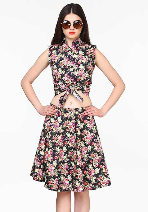 Floral Bounce Midi Skirt