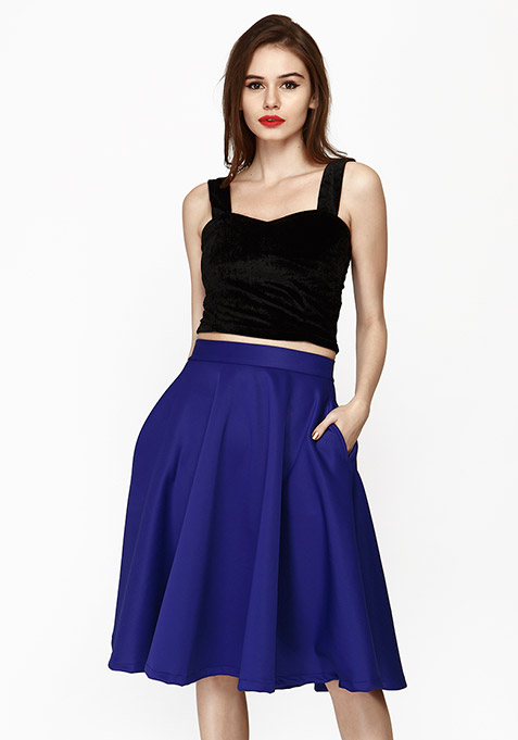 Chic Dose Scuba Midi Skirt - Blue