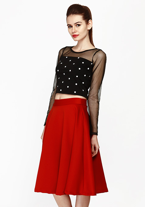 Chic Dose Scuba Midi Skirt - Red