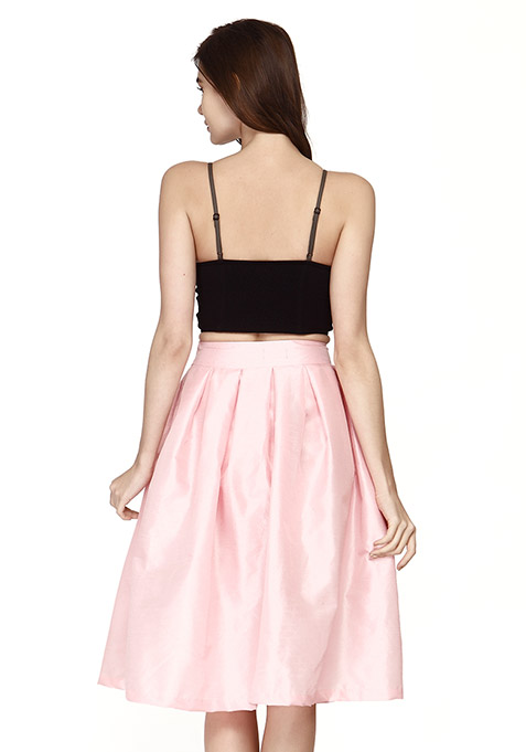 Glam Girl Silk Midi Skirt - Rose