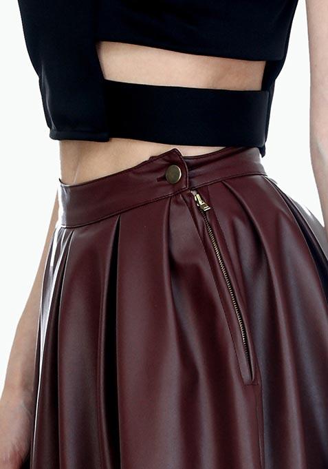 Magic Marsala Leather Midi Skirt
