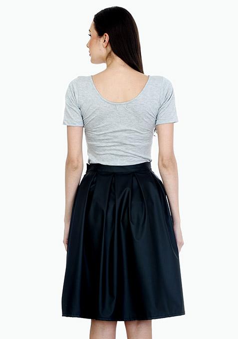 Bad Girl Black Leather Midi Skirt