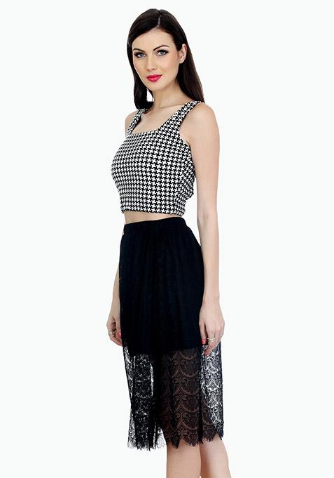 Sheer Sneak Midi Skirt - Black