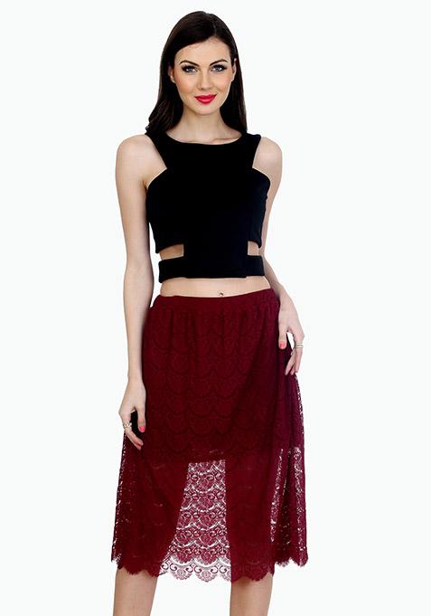 Sheer Sneak Midi Skirt - Oxblood