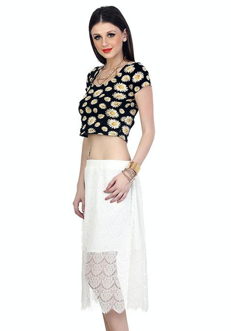 Sheer Sneak Midi Skirt - White