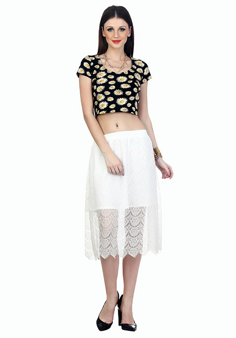 Sheer Sneak Midi Skirt - White