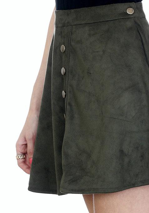 Olive Suede Skater Skirt