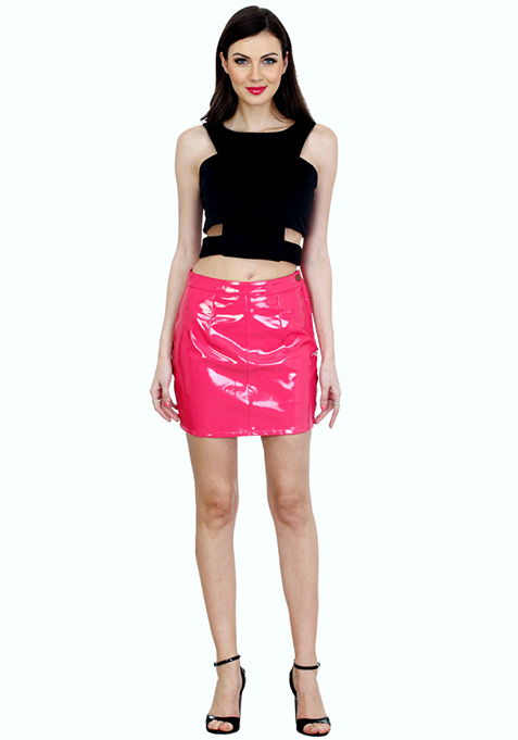 Patently True Leather Mini Skirt - Pink