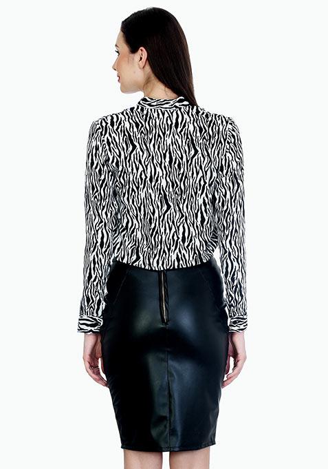 Badass Black Leather Pencil Skirt