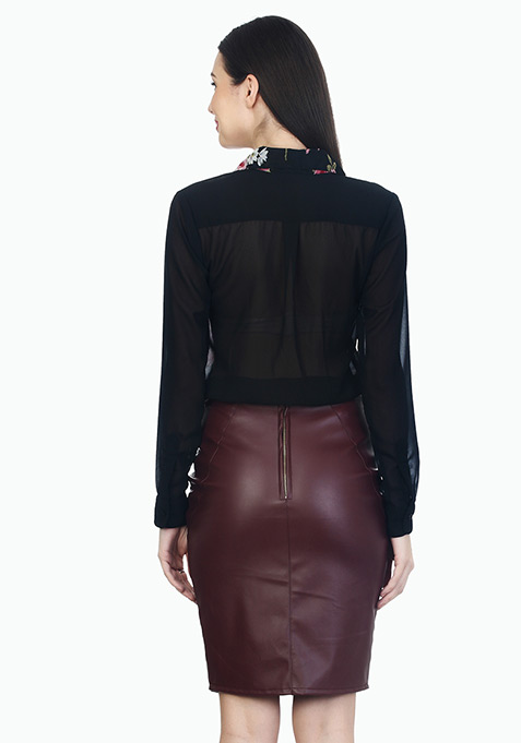 Manic Marsala Leather Pencil Skirt