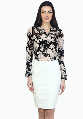 Wicked White Leather Pencil Skirt