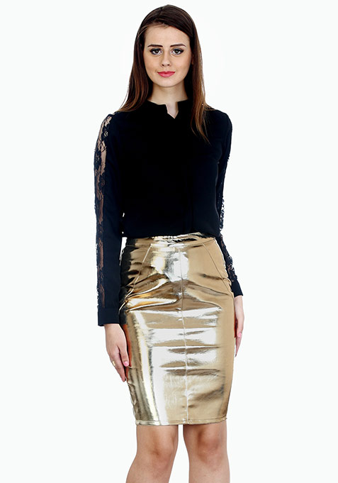 Glitzy Gold Leather Pencil Skirt