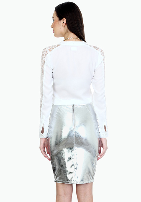 Sassy Silver Leather Pencil Skirt