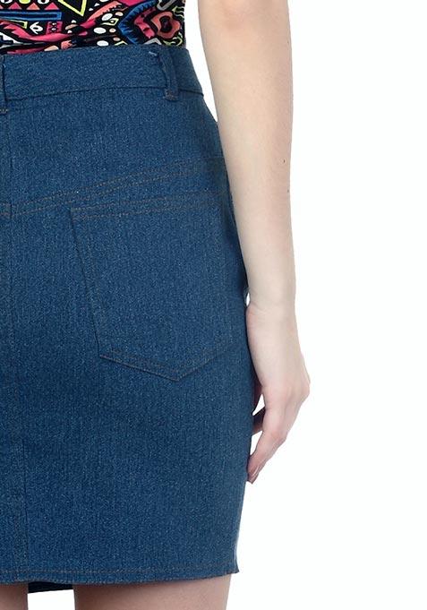 Denim Dame Mini Skirt - Medium Wash
