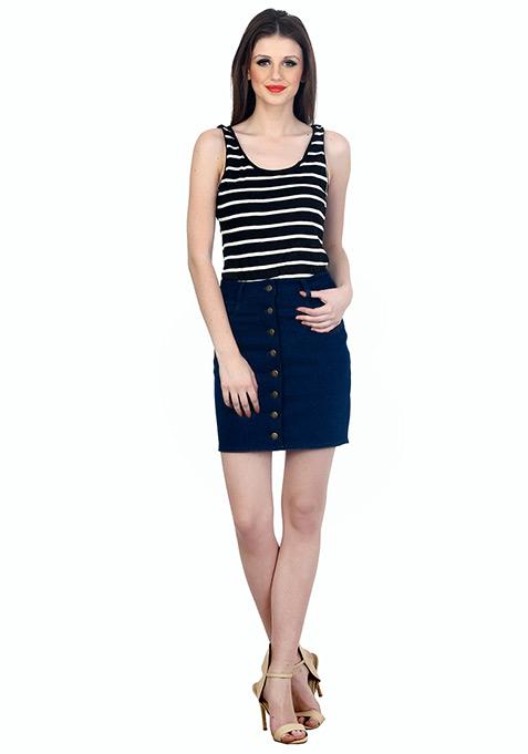 Denim Dame Mini Skirt - Dark Wash
