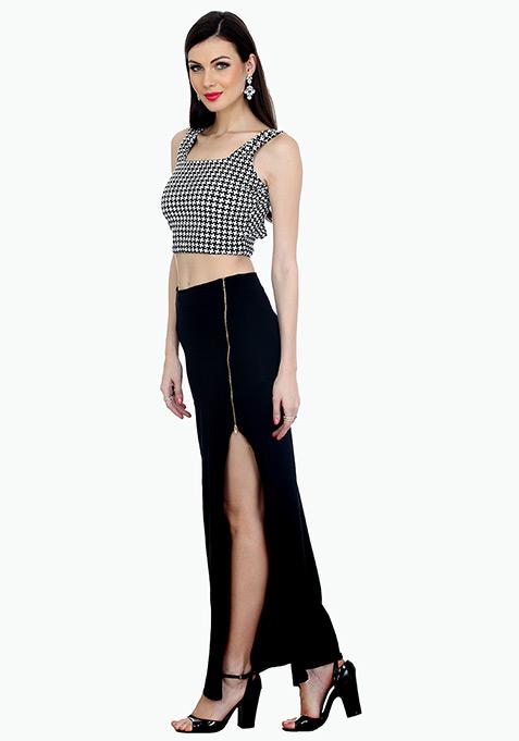 Zipped Black Maxi Skirt