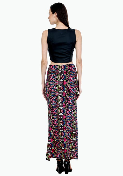 Zipped Aztec Maxi Skirt