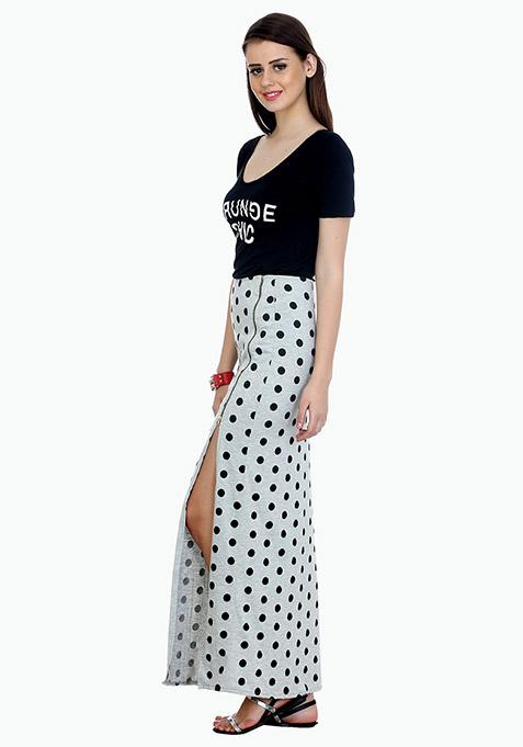 Zipped Polka Maxi Skirt