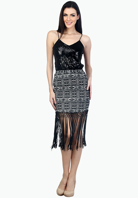 Flirty Fringed Mini Skirt - Aztec