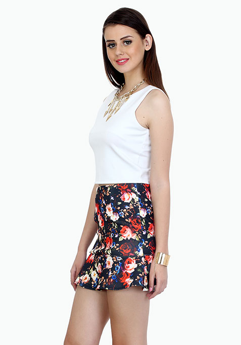 Night Floral Fluted Skirt
