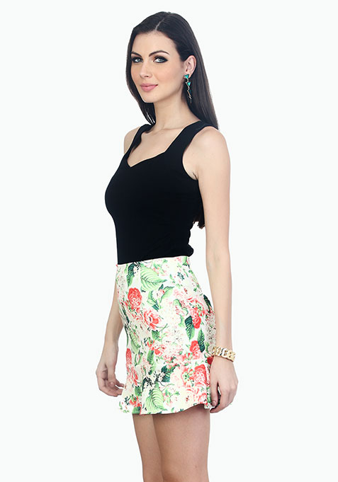 Day Floral Fluted Skirt