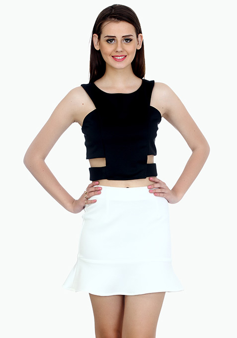 Fluted Mini Skirt - White