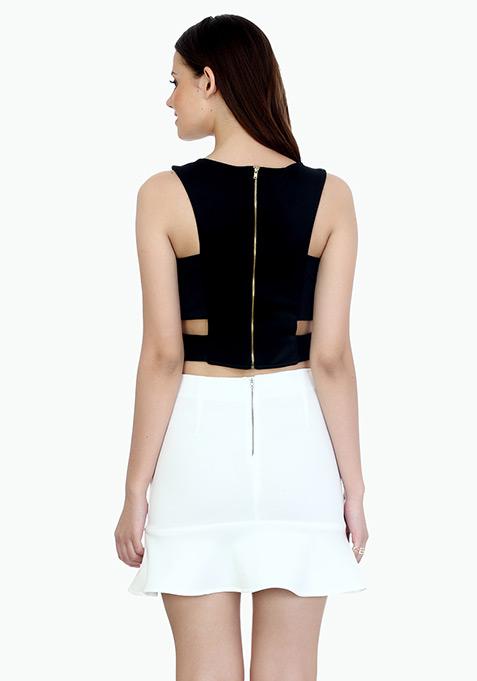 Fluted Mini Skirt - White