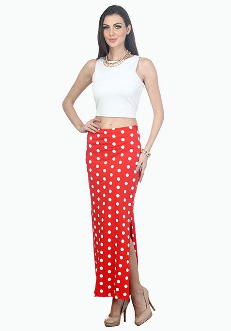 Dots On Fleek Maxi Skirt - Orange