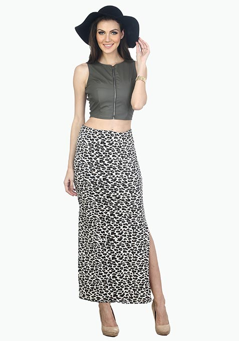 Summer Popping Maxi Skirt - Leopard