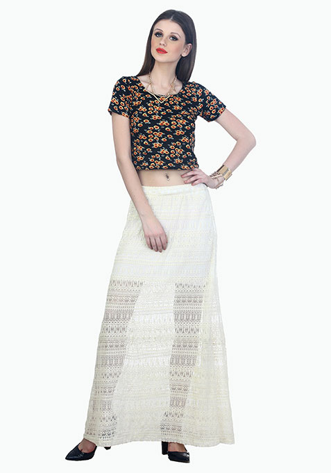 Aztec Lace Maxi Skirt - White
