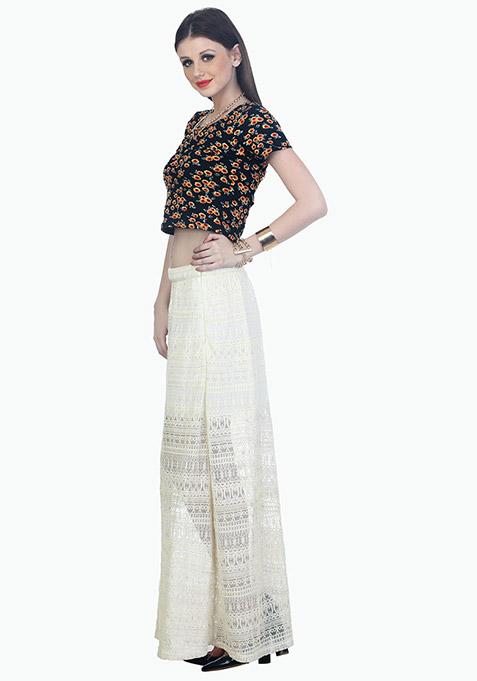 Aztec Lace Maxi Skirt - White
