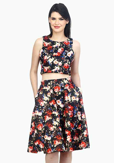 Night Floral Scuba Midi Skirt