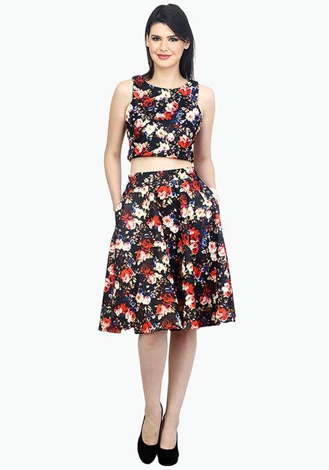 Night Floral Scuba Midi Skirt