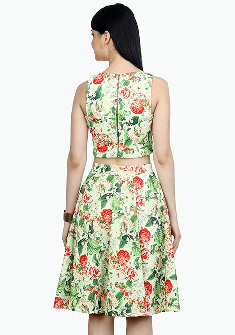 Day Floral Scuba Midi Skirt