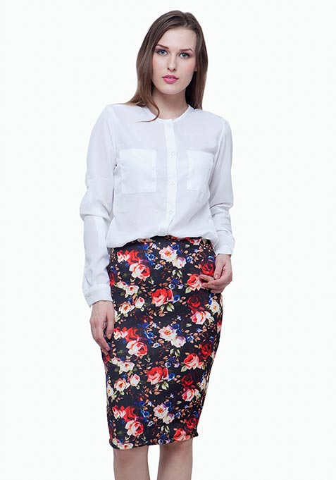 Scuba Pencil Skirt - Dark Floral