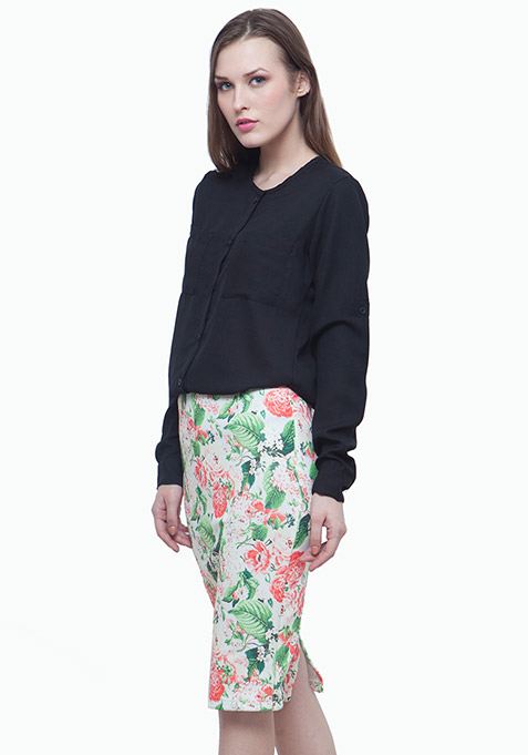 Scuba Pencil Skirt - Light Floral