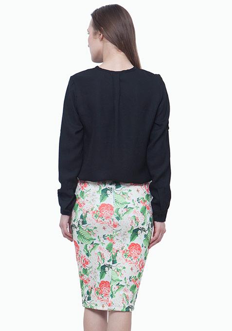 Scuba Pencil Skirt - Light Floral